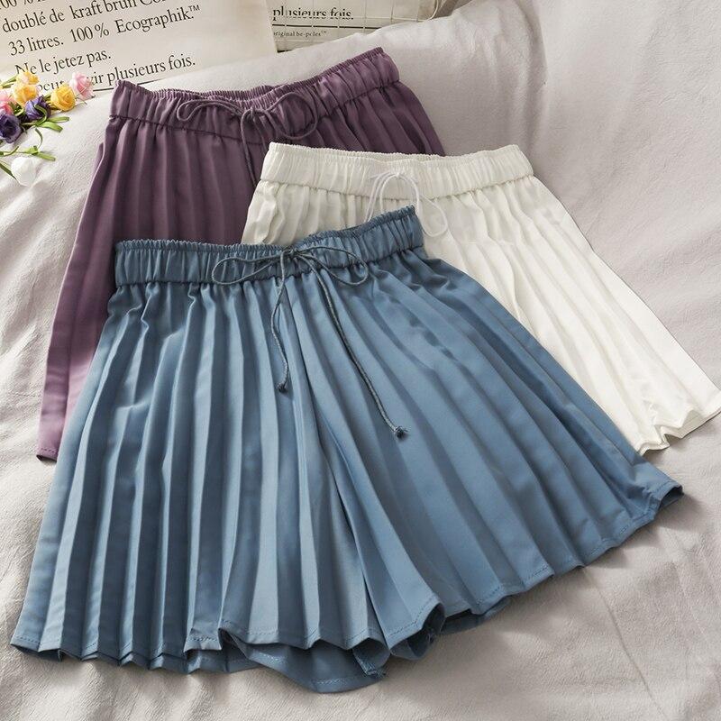 2020 summer drawstring lace elastic waist pleated short skirt female new retro loose A word wide leg shorts women's short
