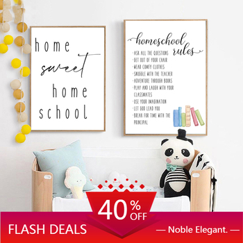 Canvas Painting Black White Homeschool Rules Art Prints Home Sweet Quote Wall Pictures Minimalist Poster Classroom Wall Decor image