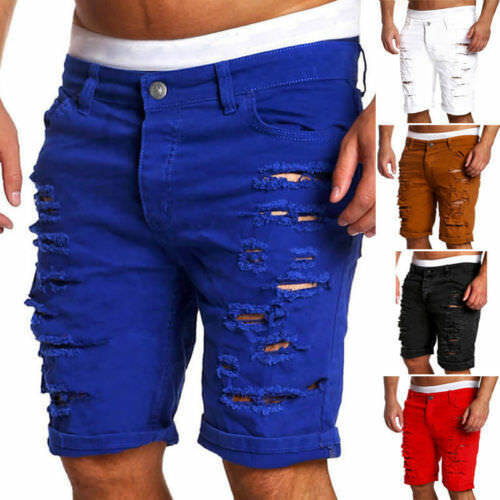 Men's Fashion Men Boy Skinny Runway Straight Short Denim Pants Runway Straight Destroyed Ripped Jeans Shorts Plus Size image