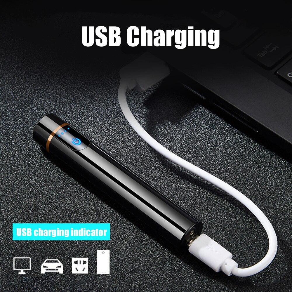 Мини-зажигалка с сенсорным экраном электрические зажигалки для сигарет тонкие ветрозащитные металлические USB перезаряжаемые зажигалки га...