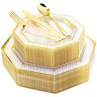 125PCS Einweg Geschirr Transparent Goldene Kunststoff Tablett Mit Silber Utensilien Geeignet für High-end-Hochzeit Geburtstag Partys