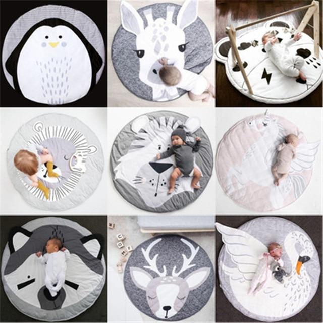 Tapis de jeu dessin animé Animal bébé tapis nouveau né infantile ramper couverture coton rond tapis de sol tapis tapis pour enfants chambre pépinière décor