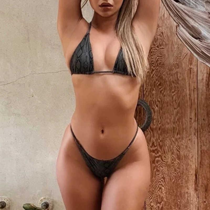 Maillot de bain femme brésilien Push up 2020 Triangle micro bikini string maillot de bain imprimé serpent taille haute maillots de bain femmes biquinis nouveau
