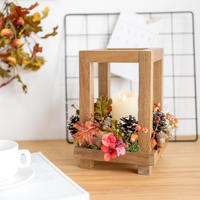 Table Decoration Ornaments Solid Wooden Retro Candlestick Candlelight Dinner Props Electronic Candle Flower Candlestick Romantic