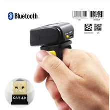 2D Mini Ring Bleutooth Barcode Scanner Wireless 1D 2D Barcode Reader with 16M Storage Space цена 2017