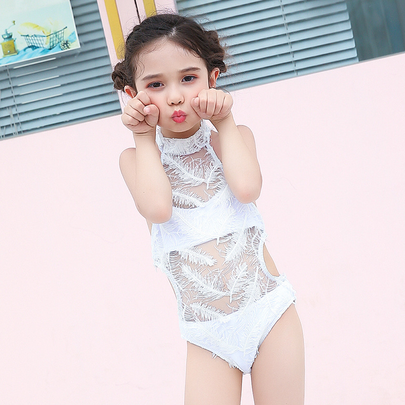 CHILDREN'S Swimwear GIRL'S Medium-small Big Kid Baby Students Girls Sexy Feather Catwalks Performance One-piece Swimming Suit