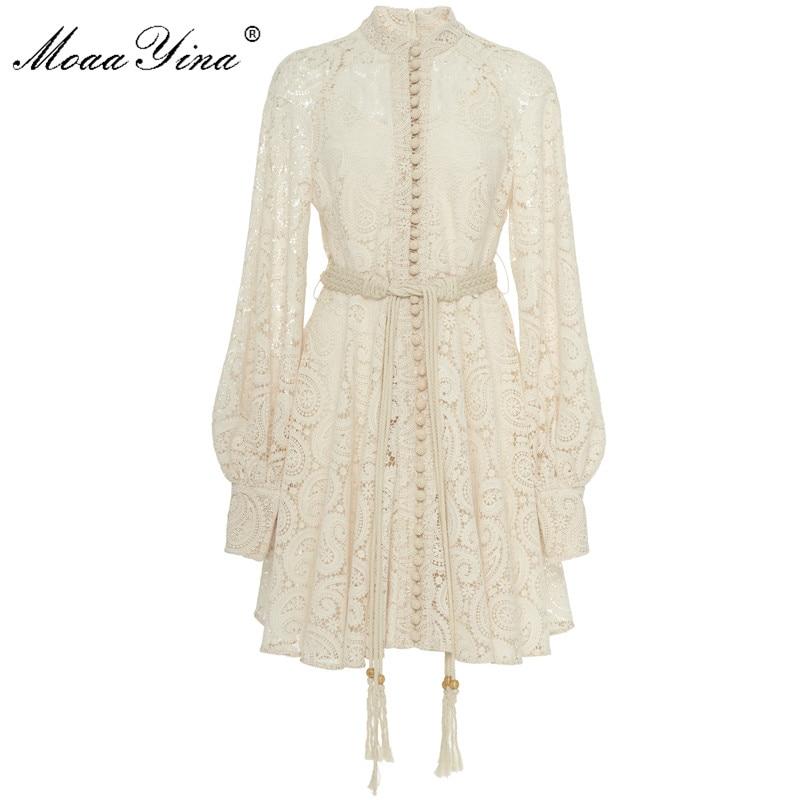 MoaaYina Fashion Designer Runway dress Autumn Winter Women Dress  Puff Sleeve Lace Hollow Out Lace Up DressesDresses
