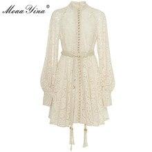 MoaaYina projektant mody pas startowy sukienka jesień zima kobiety sukienka Puff rękaw koronki Hollow Out Lace Up sukienki