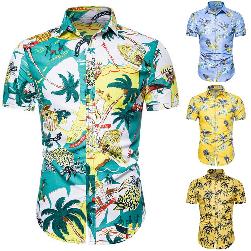 New Men's Fashion Print Shirts Casual Button Down Short Sleeve Hawaiian Shirts Summer Beach Holiday Slim Fit Party Shirt Tops