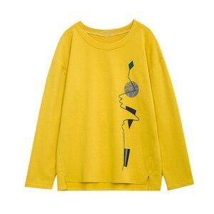 Image 5 - Nkandby Plus Size Women T shirts Autumn Clothes Loose Graphic Tees Shirts Oversized Split Long Sleeve Print Korean Lady Tshirts