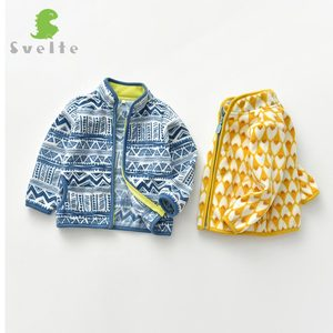 Image 3 - SVELTE for 2 7 Years Cute Kid and Toddler Boy Fleece Jacket for Spring Fall Winter Clothes with Print Pattern
