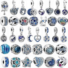 2021 pendant New Collection Blue Flowery Butterfly Planet Moon Beads and stars for the original Glamour Pandora Bracelet DIY sur