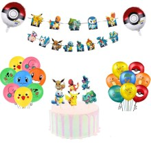 Pokemon Cake Decoration Topper Pikachu Cupcake Wrappers Banner Kids Birthday Events DIY Accessories Pikachu Theme Party Supplies