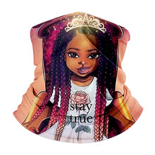 African Girl Pattern Ladies Magic Scarf Anti Spitting Dust UV Outdoor Headband Multi-function Bandana  Snood Chiffon Hijab