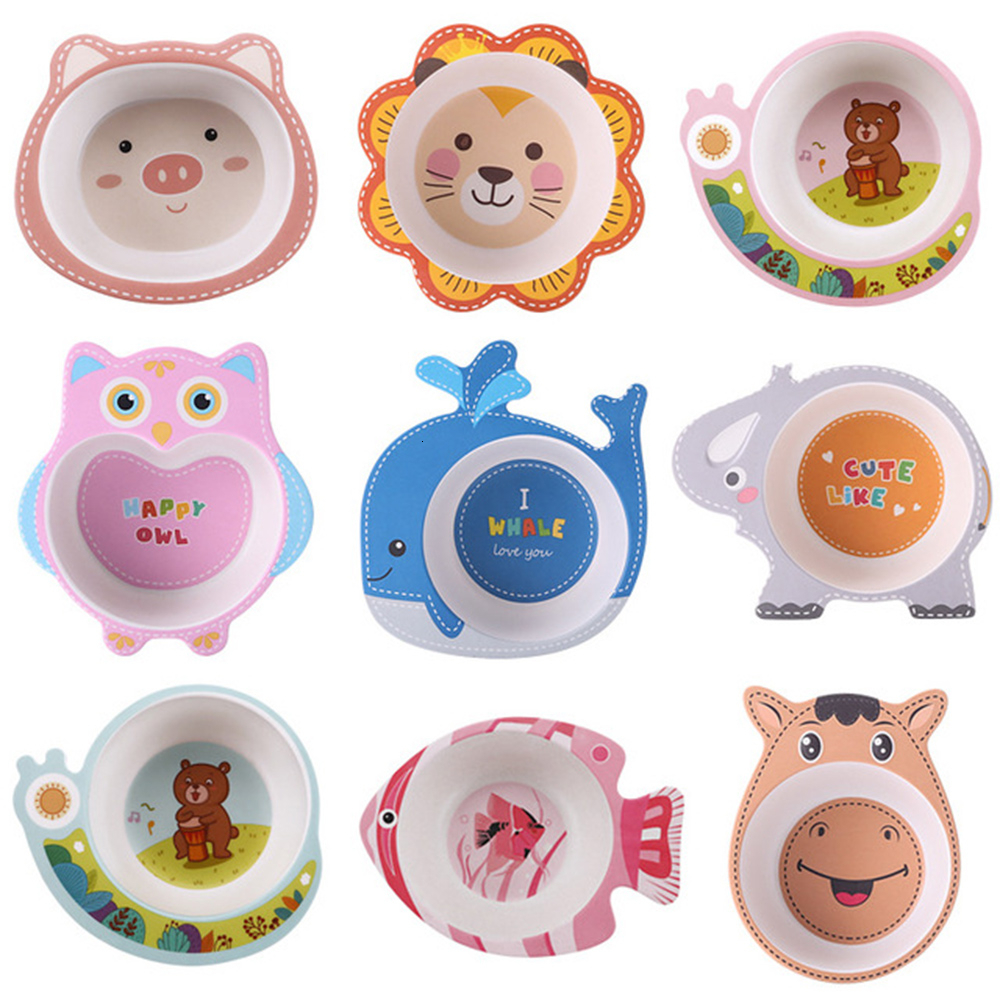 Cartoon Baby Bowl Plate Dishes Animal Baby Dinnerware Bamboo Fiber Children's Plate Baby Food Feeding Dishes Kids Tableware