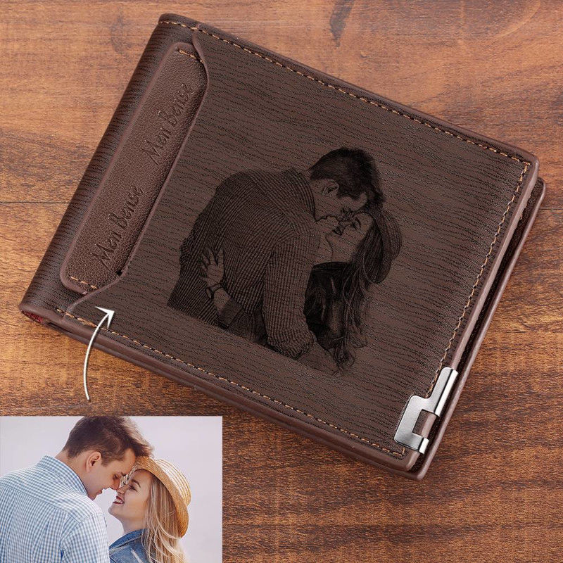Direct Selling Wallet Mens Custom Pattern Engraving Short Wallet Double Folding Forever Young Wallet Custom Wallets For Men    -