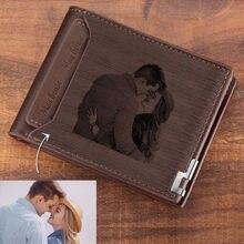 Portefeuille Double pour hommes, portefeuille personnalisé avec gravure, court, pliable pour jeunes, portefeuilles personnalisés pour hommes, vente directe