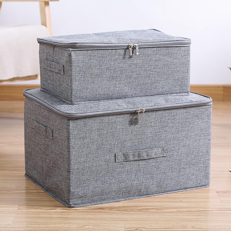Boîte de rangement en coton et Liene avec capuchon vêtements chaussettes jouets collations articles divers Oraganier ensemble organisateur domestique