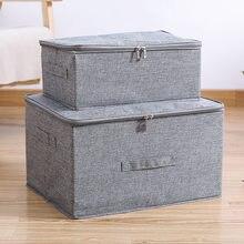 Boîte de rangement en coton et en liène, avec bouchon, vêtements, chaussettes, jouets, collations, articles divers, organisateur ménager