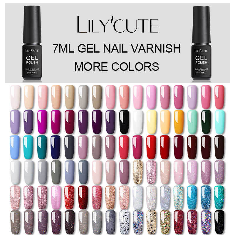 LILYCUTE Hybrid Lacke Gel Nagellack Semi Permanent Weg Tränken UV Gel UV Led Gel Polish Nail art Design