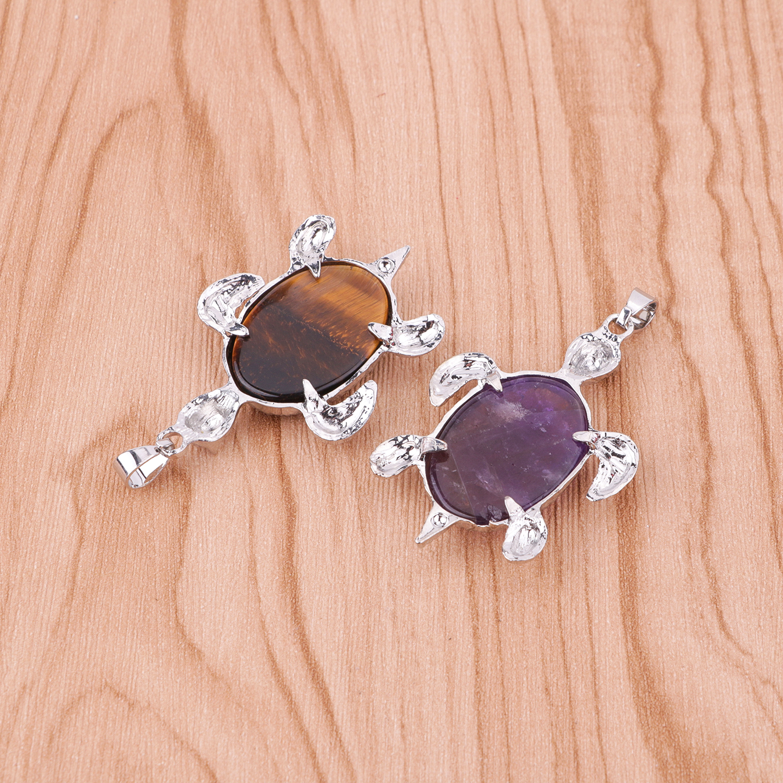 Turtle pendant necklace women's men's health longevity birth stone healing balance chakra crystal pendant jewelry