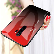 Keajor Glass Case for Xiaomi redmi note 8 pro Gradient TPU +Tempered Phone Cover For 7