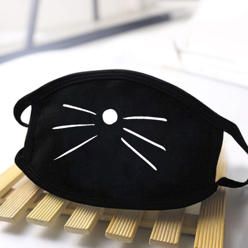 Cute Cat Print Masks Black Dust Mask Cartoon Expression Teeth Kawaii Mouth Mask Anti Haze Washable Reusable Dustproof Mask