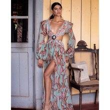 Beach Dress Summer Floral Swimsuit Print Belt Bathing Suit Women Long Cover Up Off Shoulder Beachwear Bandeau Halt Swimsuit