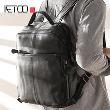 AETOO Leather men #8217 s shoulder bags business casual computer backpacks leather travel bags simple fashion fashion bag cheap Genuine Leather Cow Leather Embossing Softback Interior Compartment Cell Phone Pocket Soft Handle NONE zipper Silt Pocket