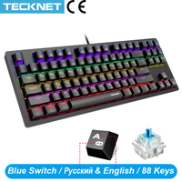 TeckNet Gaming Mechanical Keyboard 88 Keys Blue Switch Full Anti-ghosting RGB Backlit LED Keyboard For Gamer PC Desktop Laptop