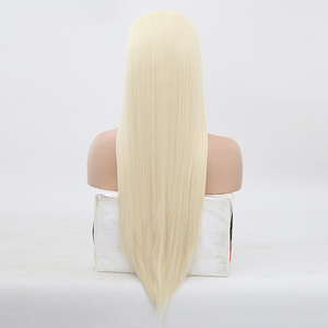 Image 3 - High Temperature Hair Lace Wig Long Silky Straight Wigs for Women Blonde Synthetic Lace Front Wig Middle Part Blonded Wigs