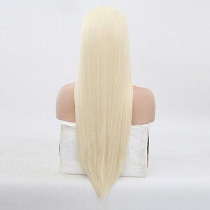 Image 3 - สูงอุณหภูมิผมวิกผมลูกไม้ยาวSilkyตรงวิกผมผู้หญิงสีบลอนด์สังเคราะห์ลูกไม้ด้านหน้าด้านหน้าวิกผมกลางBlonded Wigs