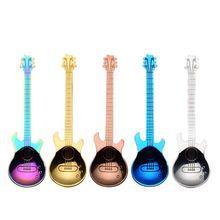 5 шт. кофейные ложки для гитары, музыкальная ложка Demitasse из нержавеющей стали, красочная десертная ложка, милая кухонная посуда для Cof