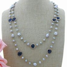 N010103 51'' Gray Pearl Blue Crystal Long Necklace(China)