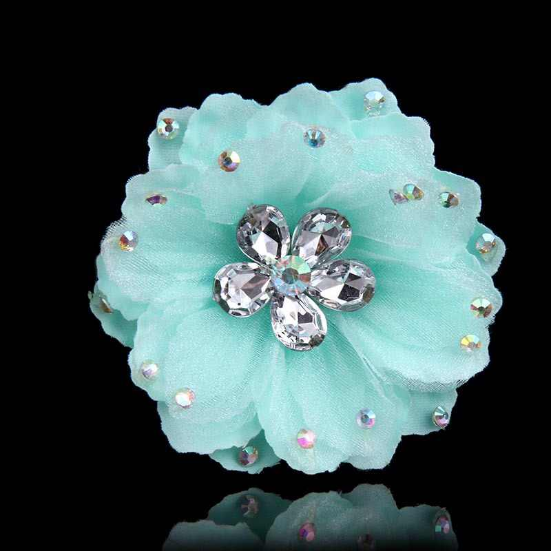 Vintage Handmade Chiffon Fabric Rose Flower Brooch Crystal Rhinestone Corsage Brooches Jewelry Badge Women Clothing Accessories