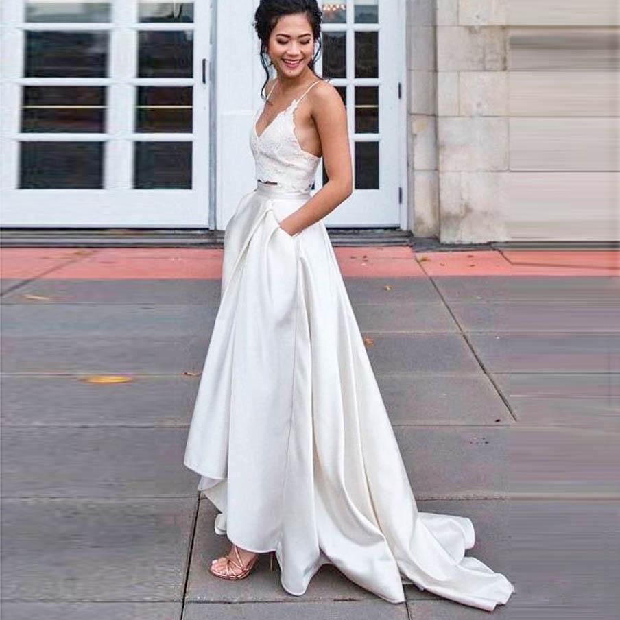 Off White High Low Wedding Skirt With Pockets Fashion Sweep Train Satin Long Women Skirt For Prom Party Faldas Saia Custom