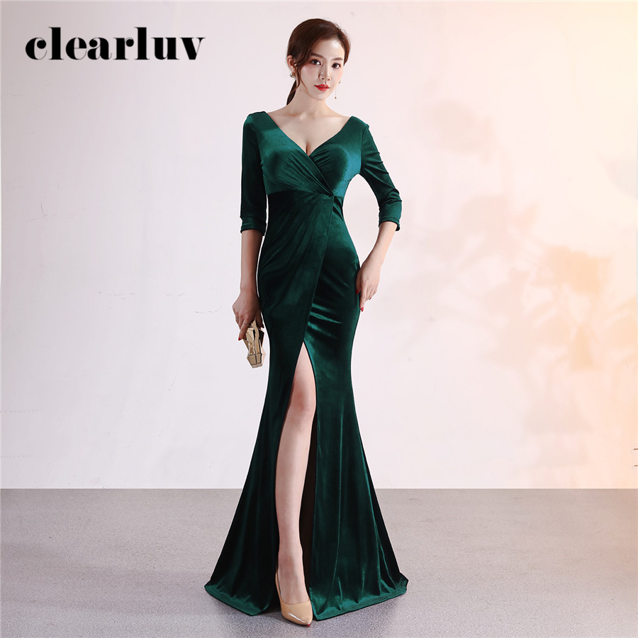 Evening Gown Dark Green Sexy Split Formal Party Gown DX372-4 Plus Size Elegant Mermaid Robe De Soiree Long Stylish Evening Dress