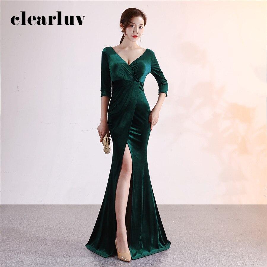 Evening Gown Dark Green Sexy Split Formal Party Gown DX372-4 Plus Size Elegant Mermaid Robe De Soiree Long Stylish Evening Dress