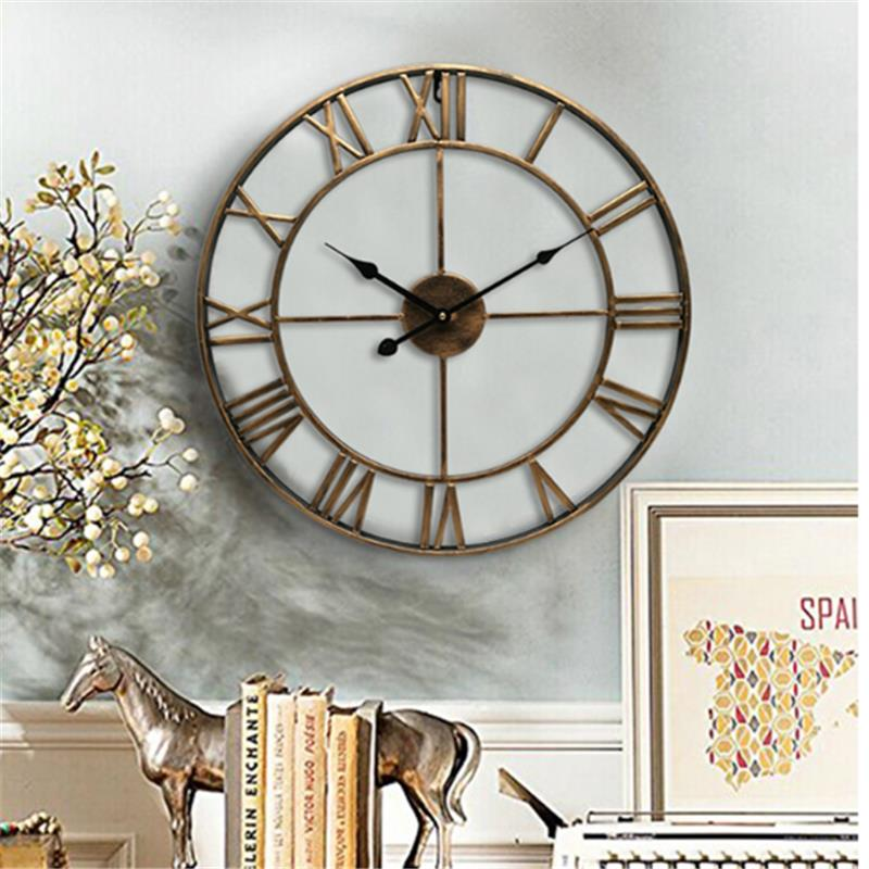 European Style Vintage Large Wall Clock Iron Roman Numeral Silent Clock For Living Room Study Office Home Decoration Home Clock