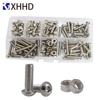 50pcs m2 m2 5 m3 m4 iso7380 stainless steel 304 round head screws mushroom hexagon hex socket button head screw bolt M2 M3 M4 M5 M6 Hex Button Socket Head Cap Screw Nut Hexagon Metric Thread Machine Bolt Assortment Kit Set 304 Stainless Steel