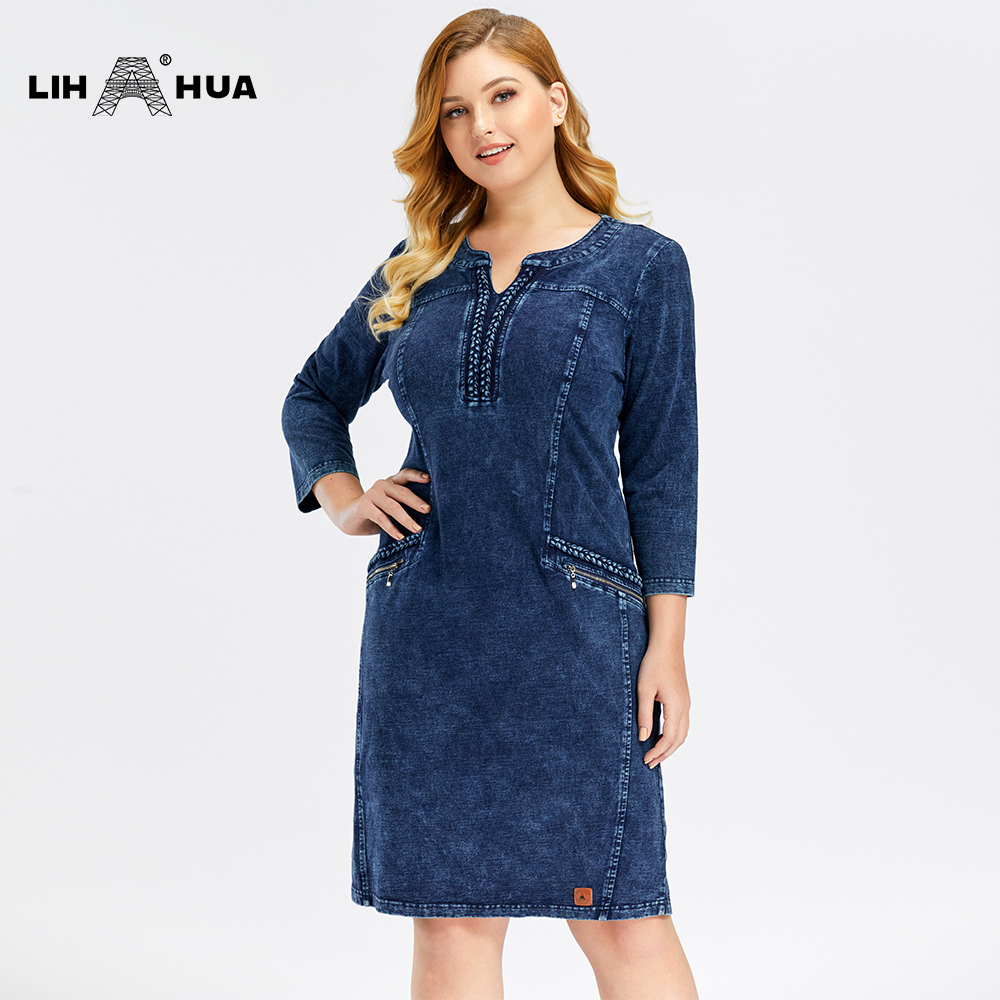LIH HUA Women's Plus Size Denim Dress High Flexibility  Slim Fit Dress Casual Dress Shoulder Pads For Clothing