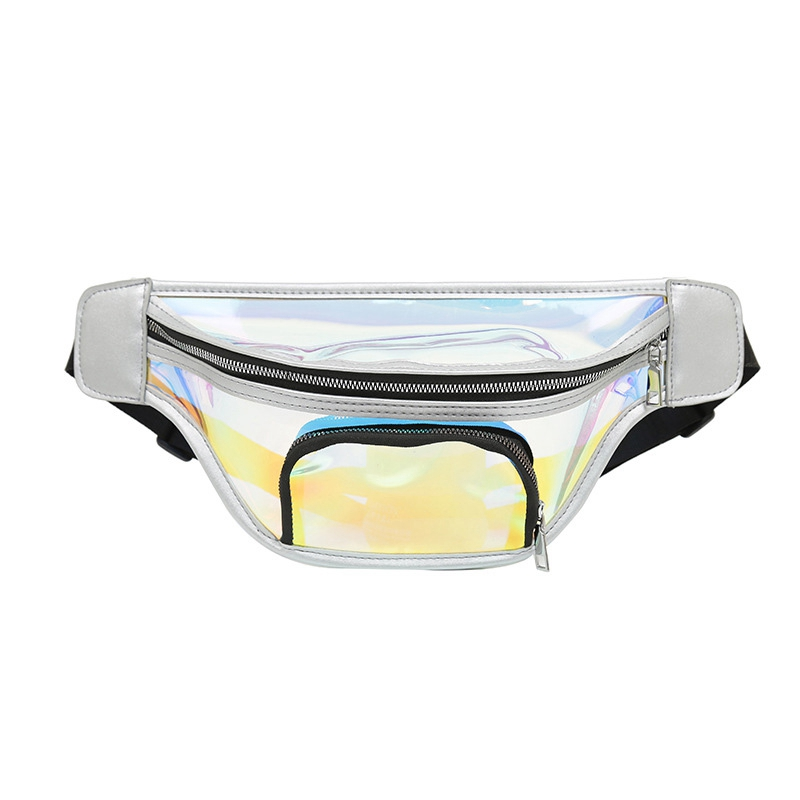 JHD-Colorful Transparent Beach Bag Summer Waterproof Reflective Large Waist Bag Thickening