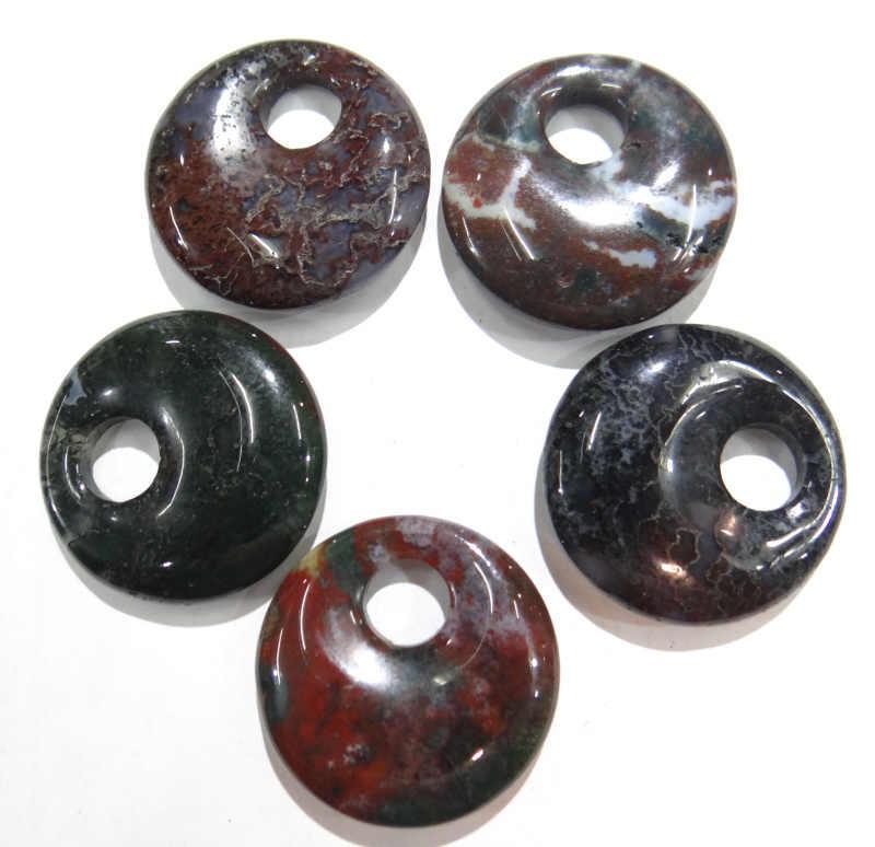 ขายส่ง 30 มม.หินธรรมชาติอินเดีย agates gogo donut charms จี้สำหรับเครื่องประดับทำสร้อยคอจี้อุปกรณ์เสริม 15 ชิ้น/ล็อต