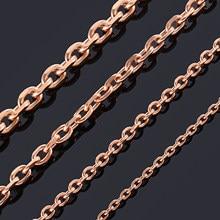 Width1.6/2/2. colar oval de ouro rosado 4/3/4/5mm, corrente com tom de aço inoxidável, para homens e mulheres, corrente cubana joias da moda da qualidade superior
