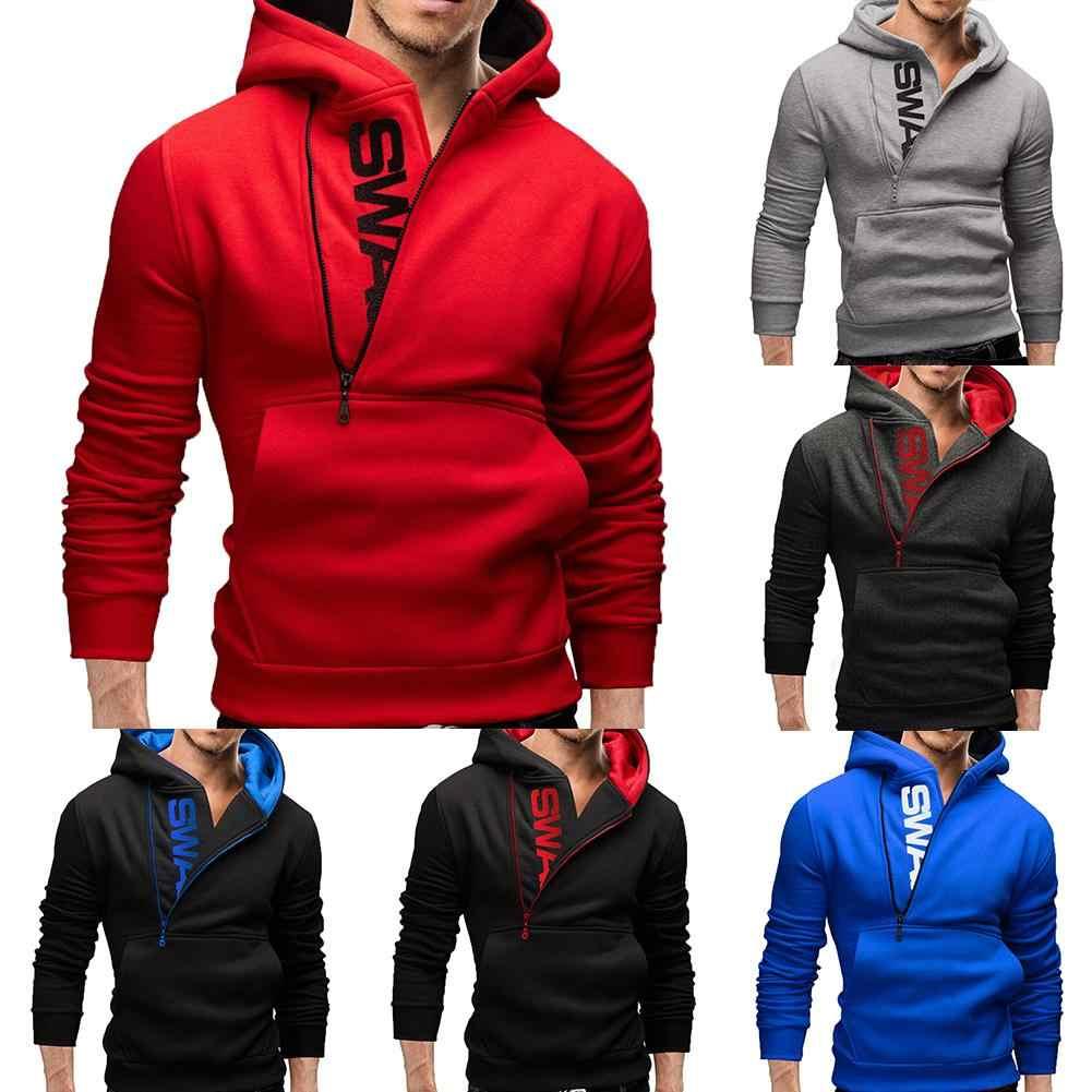 Sport Männer Plus Größe Schräg Zipper Brief Hoodies Langarm Mit Kapuze Sweatshirt