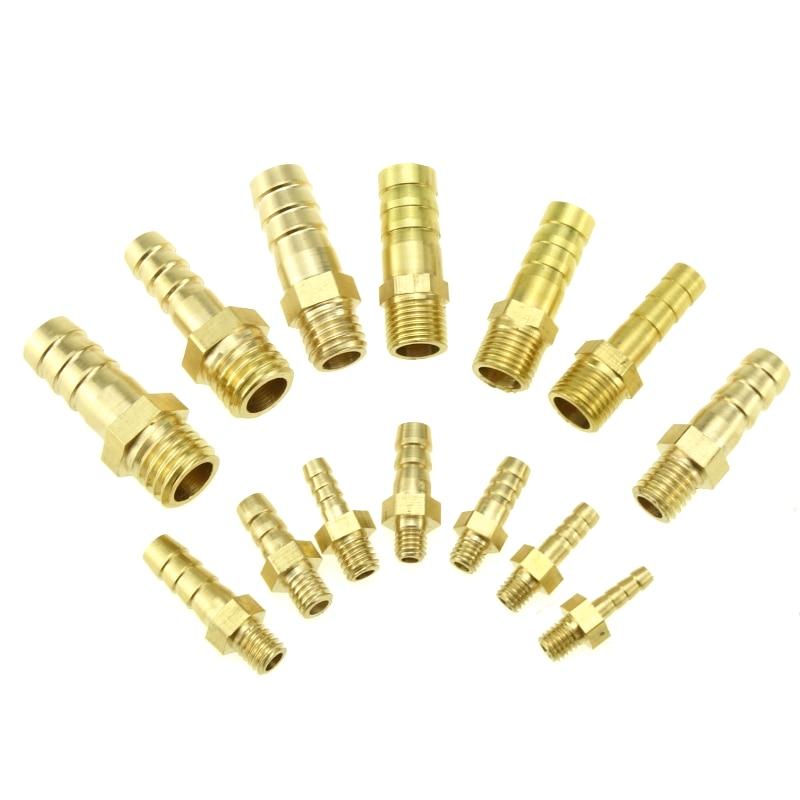 Латунный штуцер с наружной резьбой для шланга, штуцер для топлива, воздуха, газа, воды, масла 3/4/5/6/8/10 мм, диаметр шланга X M5 M6 M8 * 1,25 M10 * 1 M10 * 1,5 M12 *...