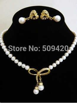 จัดส่งฟรี >>>>> Amazing! 7-8 มม.สีขาว Akoya Pearl & SHELL Pearl สร้อยคอต่างหู