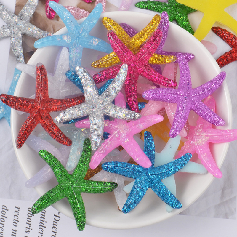 Glitter Starfish Charms For Slime DIY Polymer Filler Addition Slime Accessories Toys Lizun Powder Modeling Clay Kit For Children