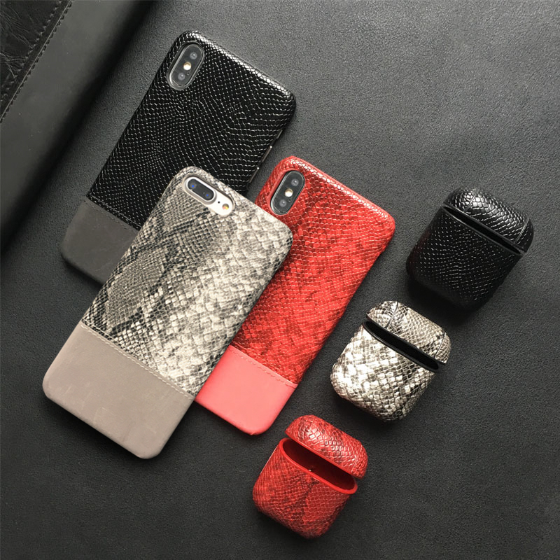 SnakeSkin Leather PU Phone Case For iPhone And Airpods Pro Earphone Headset Cover 1