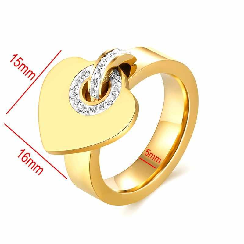 אישית מותאם אישית טבעת נירוסטה זירקון אהבת לב טבעות לנשים גברים לחרוט שם תאריך זוג טבעת להקות חתונה